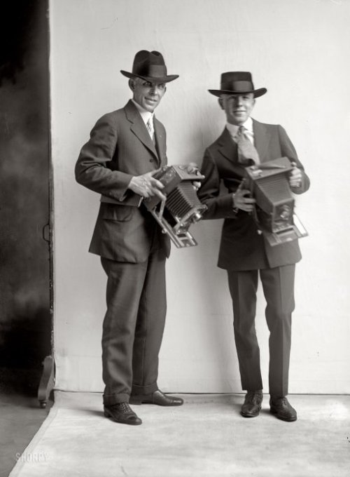"Washington, D.C., circa 1919. ""Two photographers."" On the left, A.W. ""Artie"" Leonard of National Photo. Harris & Ewing glass negative.  via Shorpy"