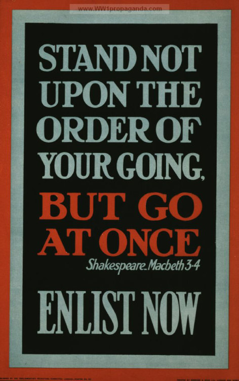dipthatpen:  British World War I recruitment poster London, Parliamentary Recruitment Committee, 1915.