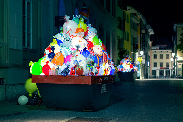 laughingsquid:  Illuminated Plastic Garbage by Luzinterruptus