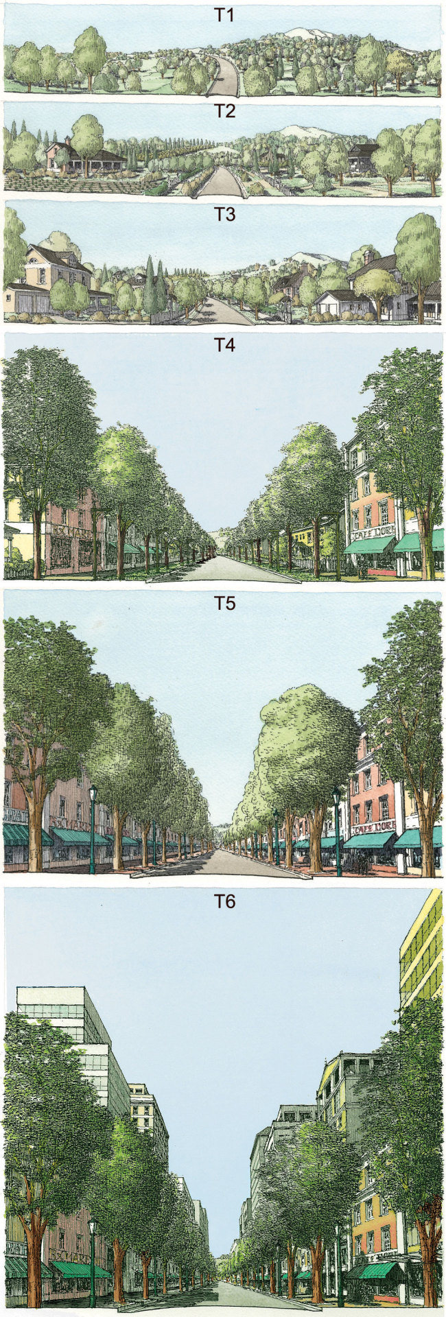 urbanxdesign:  Successional urbanism: the six Transect zones and the successional nature of urbanism. Image by Eusebio Azcue, courtesy Duany Plater-Zyberk & Company. Source: http://terrain.org/2013/interview/andres-duany/