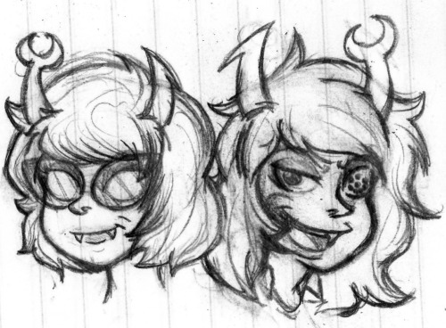 stungun44:  Vriska and Aranea doodle. I'll clean all these up later