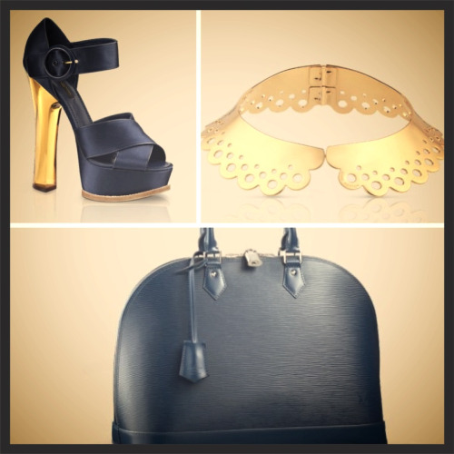 The Love of Louis Vuitton! Three pieces from Marc Jacobs for Louis Vuitton that can make ANY outfit!  1. The Florida sandal in satin from Resort 2013 collection 2. The Hide & Seek collar with AH-mazing detail inspired by Marc Jacobs for Louis Vuitton Spring/Summer 2012 collection  3. The classic and elegant Alma GM bag