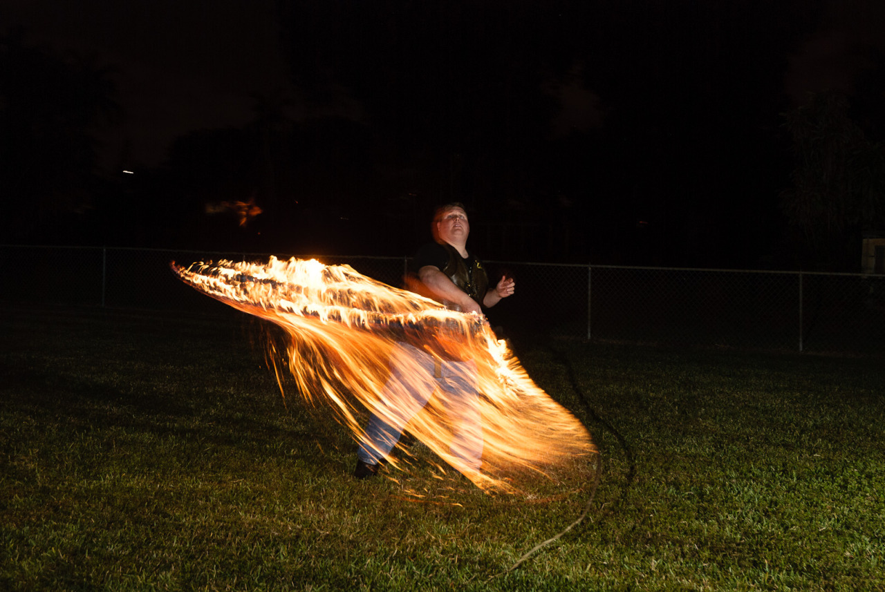 Fire whip demonstration, my back yard.
