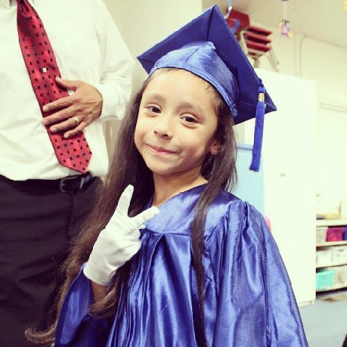 Today my little baby sister graduated from Kindergarten. Even though she isn't my biological sister I'll always treat her like she's my own blood. I nvr knew what it was like to have a little sister till I was blessed to have her in my life. She brightens up my day with her big hugs and contagious smile. She's growing up really fast but I'm happy to be a part of her life. Congrats munchkin I love you. :)