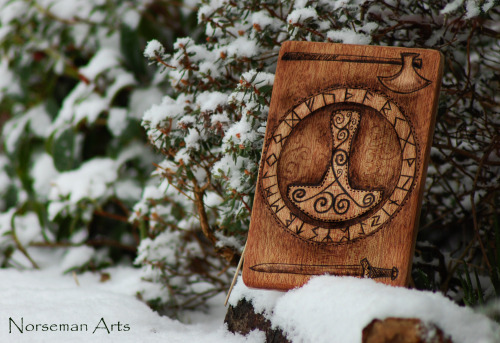 norsemanarts:  Mjolnir Wood Burning finished this morning.. by Norseman Arts.   My Facebook.