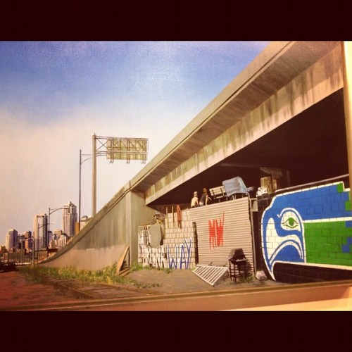 Painting by Patri o'connor.  Joey nix painted the Seahawks Logo at Marginal Way skatepark.