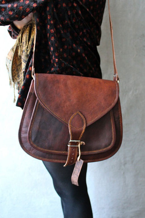 Leather Cross body messenger bag from etsy