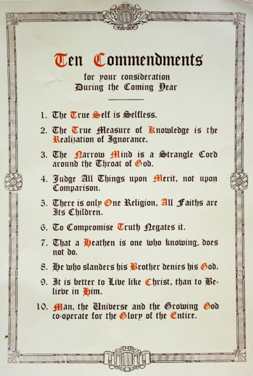 Manly P Hall's Ten Commendments for the New Year.