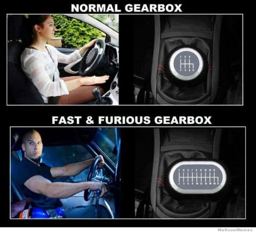 memehunter:  Normal Gearbox Vs Fast And Furios Gearboxhttp://memehunter.tumblr.com