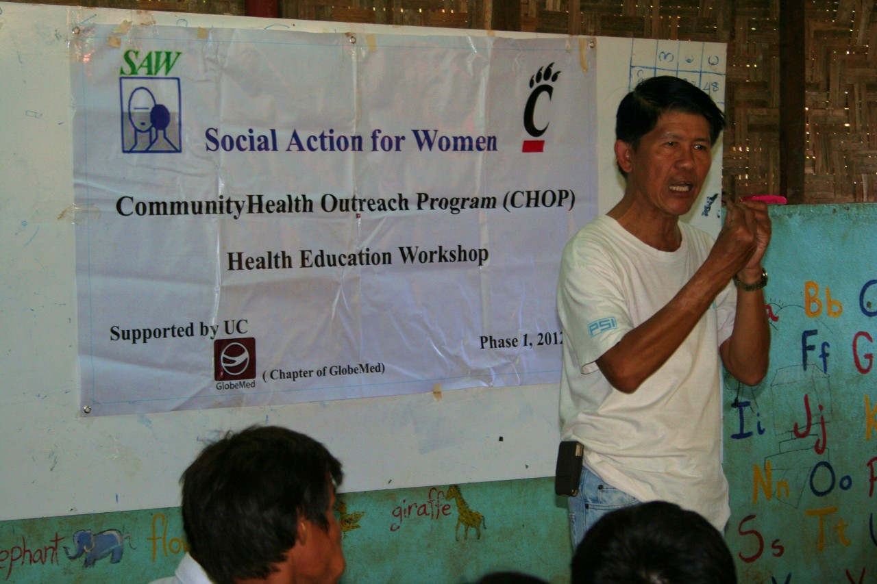 On 12/30/12, Dr. Htin Zaw lead a CHOP (Community Health Outreach Program) session.  Ko Myo translated from Burmese into English so we could understand what was being said.  Some of the topics covered included: reproductive health, communicable disease, occupational safety, and how to take medication effectively.