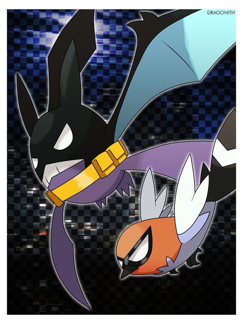 fredoknight:  Crobat Man and some Robin looking 6th gen Pokemon!! XD