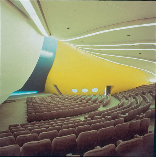 modernismepomplidolien:  The auditorium of the Bourse du travail de Bobigny, designed by Oscar Niemeyer. 1972.