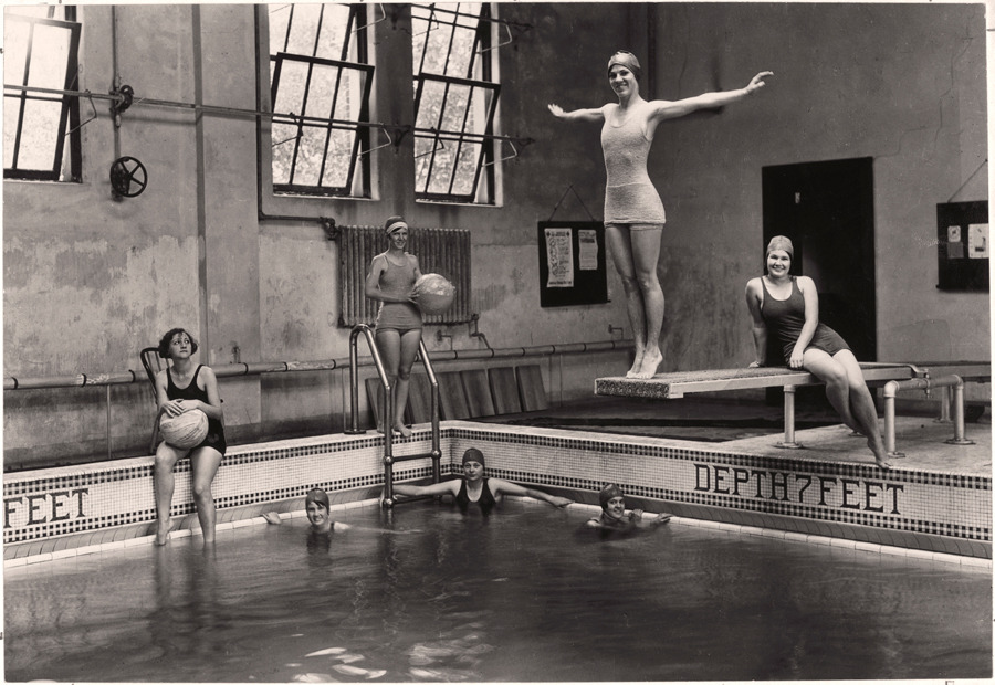 Swimming lessons are part of these undergraduates' curriculum at Tulane University in New Orleans, April 1930.Photograph by Edwin L. Wisherd, National Geographic