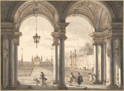 a-l-ancien-regime:  View through a Baroque Colonnade into a Garden, 1760-1768 Canaletto (1697–1768)   Pen and brown ink, black-gray wash in two tones, partly visible perspective construction lines in black pencil