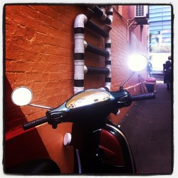 The colour version #vespa at #vorsprungarten #threeropes #addedcontrast but mirrors real #herbladder #publicart #parramatta #pipedream