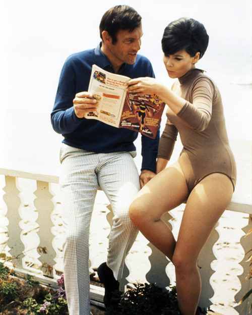 Adam West and Yvonne Craig reading Detective Comics #359 c.1967