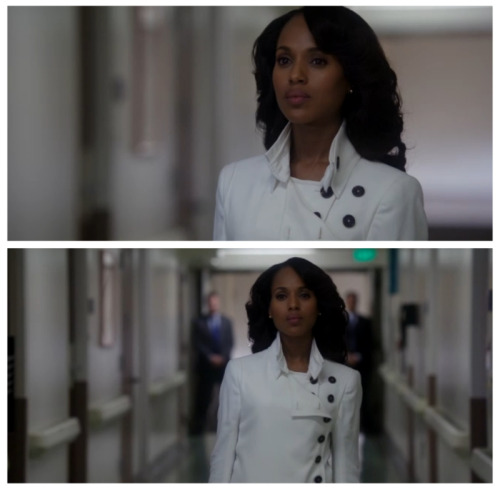 From Olivia Pope's Gladiator armor - a Ann Demeluemeester white jacket to her lethal stare, Olivia certainly shut things down last night.  That lethal look and stance though during this scene though?!  This is the real deal, Gladiators.  This is the layer of Olivia Pope that makes things happen.  When you see Olivia suit up in the white jacket, you know Olivia's about to do some serious Gladiator work.