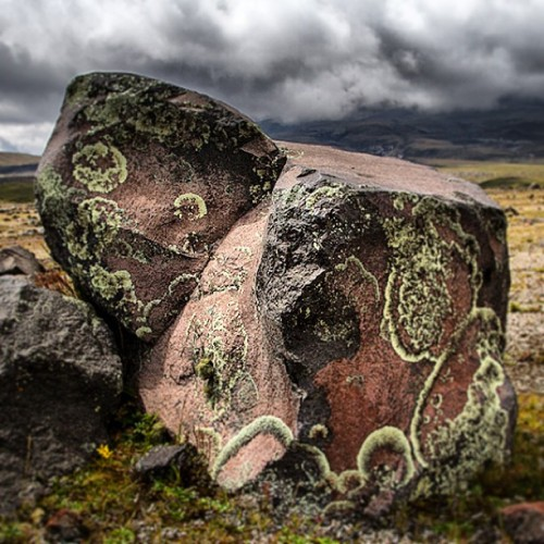 ouropenroad:  The rocks up here have #lichen patterns on them that resemble Japanese block print clouds!  #Cotopaxi #Ecuador #Andes
