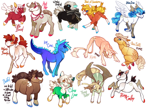 just a bunch of horses that are up for auction over@ my Da account uvu  i designed these cause friggin derby days made me want to draw horses so badly ;w;