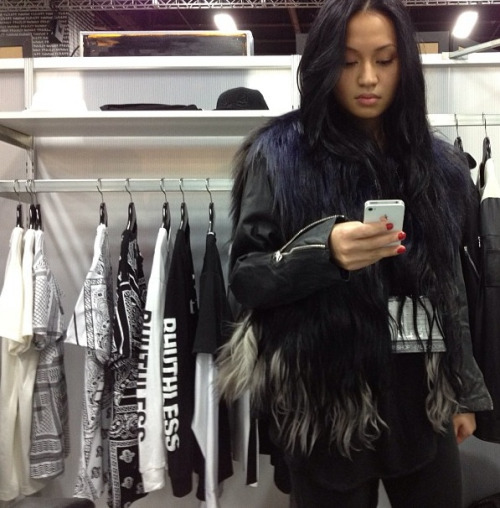 rhuigi:  my sister in f/w 13 RHUDE goat hair jacket that we dyed ourselves