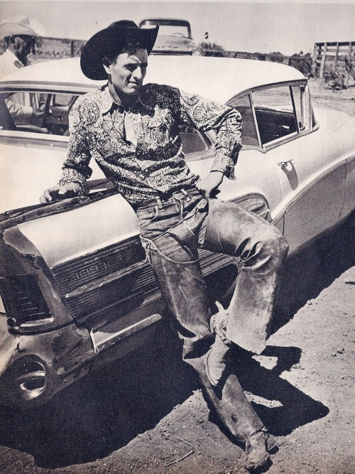 murdercycles:  Texas cowboy leans up against his shiny new Buick LOOK magazine August 4, 1959