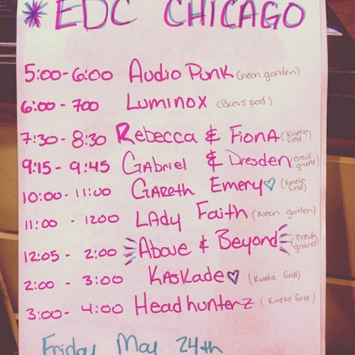 stranded-in-wonderland:  My Schedule for #EDCCHICAGO !! I'm soo pumped to have an amazing time with amazing people hmu if you want to meet up or trade kandi!🎉🎉🎶🎶🍬