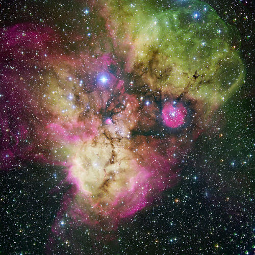 "NGC 2467 - ""Skull and Crossbones Nebula"" is a star-forming region. It includes areas where large clouds of hydrogen gas incubate new stars. NGC 2467 had long been considered to be the nucleus of the Puppis I association. However, NGC 2467 does not represent a distinct open cluster; rather, it represents a superimposition of several stellar groups along the same approximate line of sight that have distinctly different distances and distinctly different radial velocities. One of these is a young and very distant group beyond Puppis OB2, while another, nearer group with later type stars lies at a similar distance as Puppis OB1… (read more: Wikipedia)                     (image: ESO)"