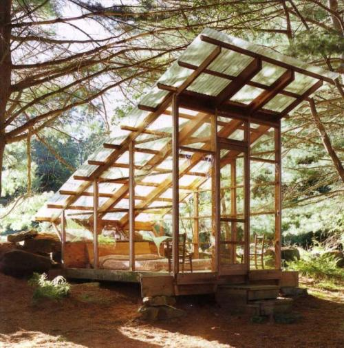 evrtstudio:  Monday: Modern in Nature Sleeping Cabin by Tim Prentice Mr. Prentice is known for making kinetic sculptures (that are absolutely incredible BTW) and architecture (Prentice & Chan - 1965). This is the only digital image I can find online of a cabin he created, with no additional information. I find this structure to be magical in a lot of different ways, but mostly because it reminds me of the many childhood summers I spent in Minnesota and it's amazing pine forests. This automatically gets filed into my long list of things to build one day.