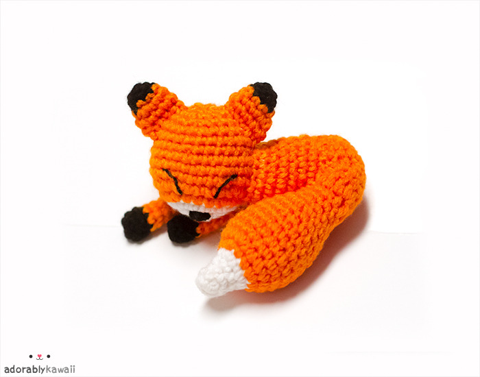 Mini Sleepy Fox Amigurumi http://www.adorablykawaii.com/http://www.facebook.com/adorablykawaii/http://www.adorablykawaii.etsy.com/