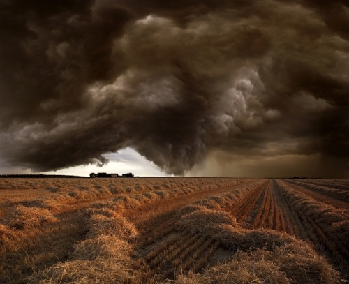 Stunning Landscapes Show the Ferocity of Nature Katie Hosmer, mymodernmet.com Being stuck out in the fields as these omi­nous clouds approach must be a ter­ri­bly fright­en­ing expe­ri­ence. As the storm moves in, the rain pours down, and light­ing strikes, 61-year-old Ger­man pho­tog­ra­ph­er Franz Schu­mach­er doesn't run…
