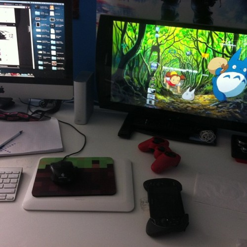 Getting over the flu so I'm cleaning my desk #totoro #playstation3 #ps3 #psvita #vita #imac #minecraft #geek #nerd #kiljoyvideos #ny #single