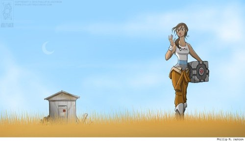 rub-bear-toe:  Portal´s Chell by jollyjack
