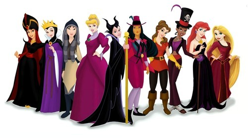 disneyismyescape:  disneyisforall:  The princesses dressed as their respective villains  Belle and Tiana look hot in their outfits. And Ariel looks glam