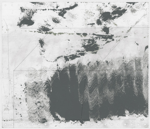 "From ""Wave Fractions"" (study n° x3) Monotype. oil, dust and pencil on paper 2012/13"
