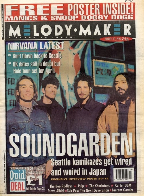 Soundgarden, Melody Maker, March 19, 1994