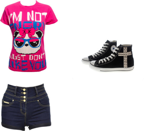 Sem título #278 by uma-directioner featuring a cross trainerT shirt, $46 / Jane Norman high waisted shorts, $43 / Converse cross trainer