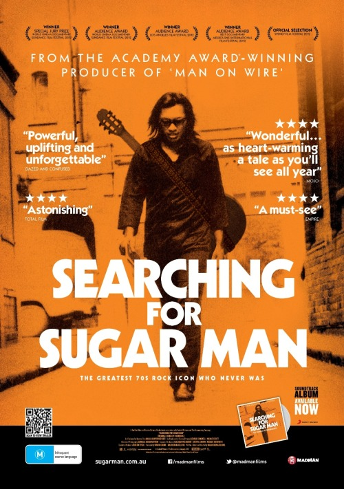 Searching for Sugar Man (2012) For those who don't know, this documentary is about an American musician named Rodriguez who released 2 albums in the early 70s, which didn't do well at all in the US, but had quite an impact in South Africa. The film follows the attempts to find out just who this man was. I wish I didn't already know the outcome before I watched this, but I still enjoyed it. It's a pretty awesome story (even when you learn about the filmmakers' deliberate omission of certain facts). I'd never heard of him before this film, and now I'm totally a fan of his music. It's a good, entertaining documentary and I'm sure it would appeal to most people.