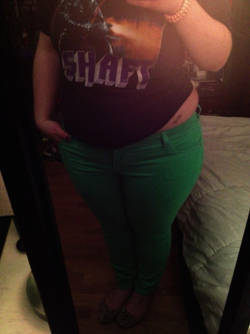 Shaft tee, love bites, new minty green corduroys and leopard flats. *Also, love handles.