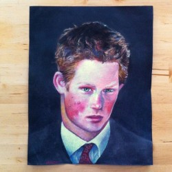 ❤My new teen Prince Harry portrait by @lorenaprain, amazing artist! (en By Luis Venegas Studio)