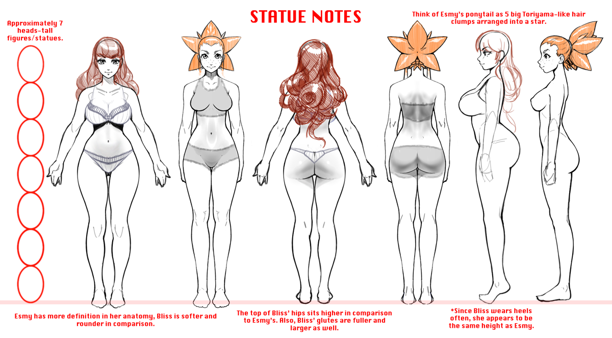 Continuation from last week's post; here's the proportion notes I sent off to our sculptor over the weekend for the statues. I ended up tweaking the head size some more for the statues, so now they'll be more close to IRL proportions.