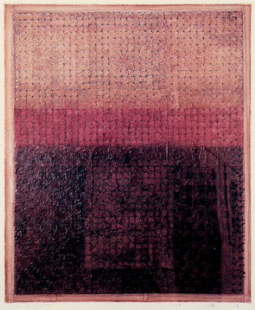 takahikohayashi: D-13.Jul.1997paper making, weave the slice of paper, painting on it林孝彦 HAYASHI Takahiko 1997foto presented by Galerie Tokyo Humanité