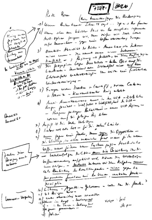 A manuscript page from Heinrich Böll's Vermintes Gelände, published in 1982.