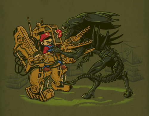 it8bit:  Alien Fighting Created by Ben Chen Up for voting at the Threadless.