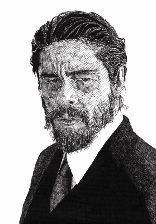Detailed Celebrity Portraits Created with a PenBenicio Del Toro