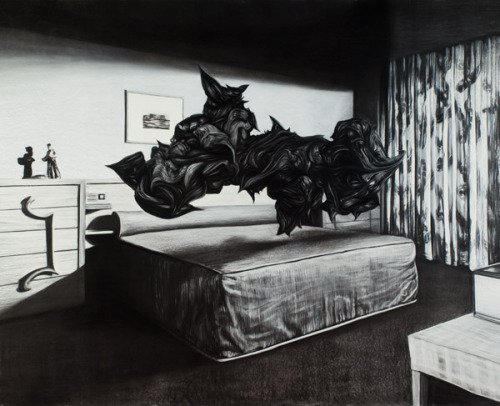 surrealism:  Hold Everything Dear by Stephan Balleux, 2009. Charcoal and pastel on paper mounted on aluminum, 236 × 290 cm.