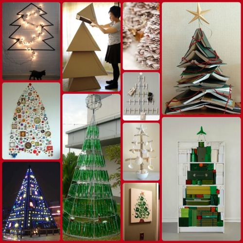 We made a collage of some inspiring, upcycled not-so-traditional Christmas trees! 5 MORE SLEEPS! www.facebook.com/junkfunkshop