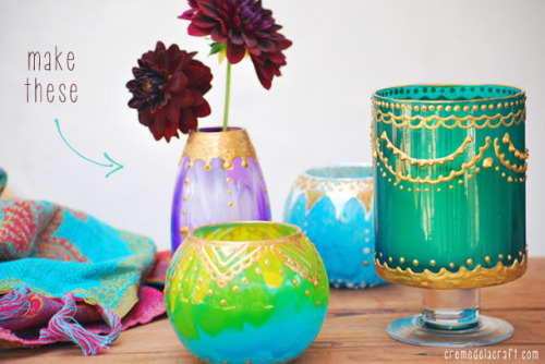 dulceetdecorus:   DIY: Moroccan Candle Holders From Glass Jars Paint