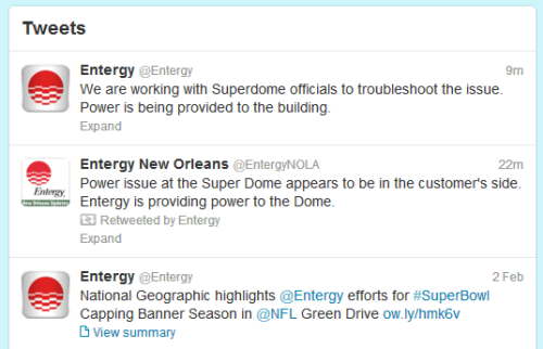 inothernews:  A tale of three Tweets: the power company providing electricity to the Super Dome very proud of the job they did (bottom); the power company blaming the Super Dome and/or the NFL (middle); and oh, maybe we should stop trying to place blame and fix this fucking problem instead (top).  Everyone knows that Ray Lewis sacked that transformer in an effort to extend his career.