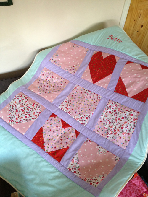 Finished heart quilt. The person I made it for loves it!!! X