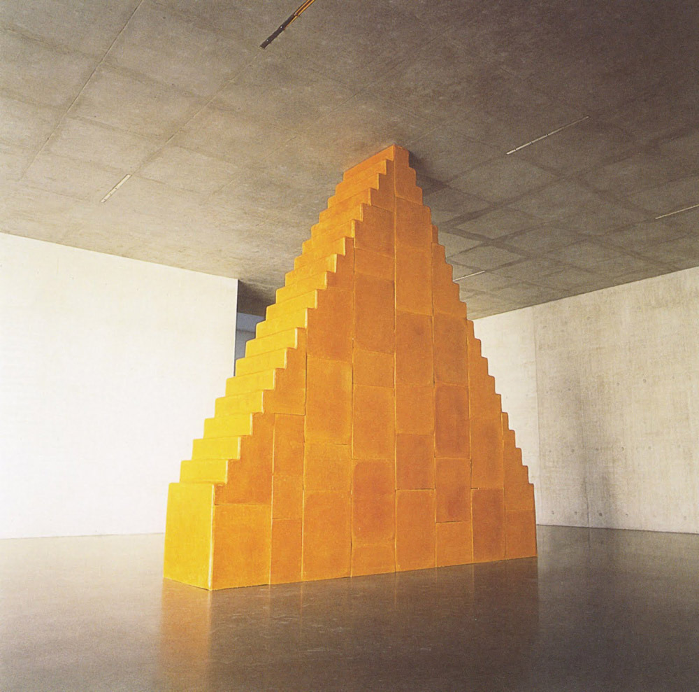 thingsorganizedneatly:  Wolfgang Laib, Zikkurat. Beeswax and wood.